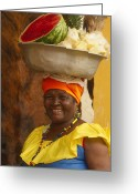 Local Greeting Cards - Palenquera in Cartagena Colombia Greeting Card by Anna Smith
