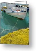 Crete Greeting Cards - Paleohora Fishing Boat Greeting Card by Robert Lacy