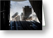 Freight Greeting Cards - Pallets Are Released From A C-130 Greeting Card by Stocktrek Images