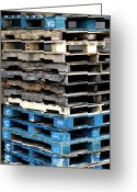 Wooden Pallets Greeting Cards - Pallets Blue Greeting Card by Lorraine Devon Wilke