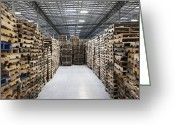 Wooden Pallets Greeting Cards - Pallets in a Factory Warehouse Greeting Card by Jetta Productions, Inc