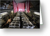 Freight Greeting Cards - Pallets Of Cargo Inside Of A C-17 Greeting Card by Stocktrek Images
