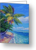7 Mile Greeting Cards - Palm at the Waters Edge Greeting Card by John Clark