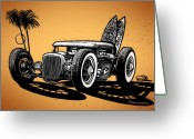Hot Rod Drawings Greeting Cards - Palm Beach Greeting Card by Bomonster