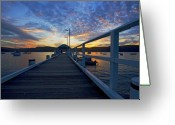 Sunset Greeting Cards - Palm Beach wharf at dusk Greeting Card by Sheila Smart