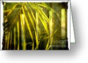 Monochrome Greeting Cards - Palm fronds 2 Greeting Card by Susanne Van Hulst