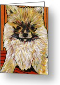 David Greeting Cards - Palm Pom Puppy Greeting Card by David  Hearn