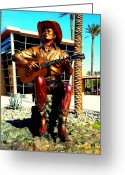 Musicals Greeting Cards - Palm Springs Gene Autry Statue Greeting Card by Randall Weidner