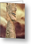 Wood Sculpture Greeting Cards - Palm Springs Tiki Greeting Card by Matthew Bamberg