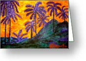 Puerto Rico Pastels Greeting Cards - Palm Trees in Paradise Greeting Card by Felix Zapata