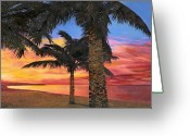 Seashore Greeting Cards - Palme Al Tramonto Greeting Card by Guido Borelli