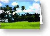 Sunny Painting Greeting Cards - Palms at Kapiolani Park Greeting Card by Douglas Simonson