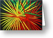 Fireworks Painting Greeting Cards - Palms Bursting Greeting Card by Roseann Gilmore