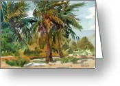 Air Painting Greeting Cards - Palms in Key West Greeting Card by Donald Maier