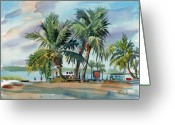 Air Painting Greeting Cards - Palms On Sanibel Greeting Card by Donald Maier