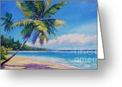 Bay Islands Painting Greeting Cards - Palms on Tortola Greeting Card by John Clark