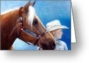 Bay Horse Greeting Card Greeting Cards - Palomino Quarter Horse Youth Halter Horse Greeting Card by Olde Time  Mercantile