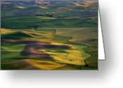 Hills Greeting Cards - Palouse Shadows Greeting Card by Mike  Dawson