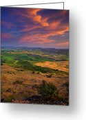 Wheatfields Photo Greeting Cards - Palouse Skies Ablaze Greeting Card by Mike  Dawson