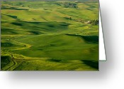 Wheatfields Photo Greeting Cards - Palouse Spring Greeting Card by Mike  Dawson