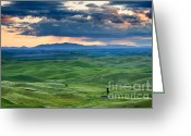 Wheatfields Photo Greeting Cards - Palouse Storm Greeting Card by Mike  Dawson