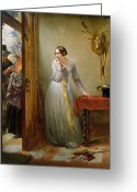 The Love Letter Greeting Cards - Palpitation Greeting Card by Charles West Cope