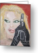 Tommy Lee Greeting Cards - Pamela Anderson Greeting Card by Travianno