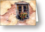 Brick Greeting Cards - Pampa Window Greeting Card by Sam Sidders