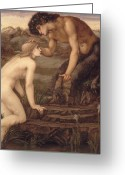 Pan Greeting Cards - Pan and Psyche Greeting Card by Sir Edward Burne-Jones
