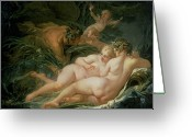 Nymphs Greeting Cards - Pan and Syrinx Greeting Card by Francois Boucher