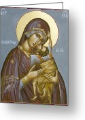 Icon Byzantine Greeting Cards - Panagia Kardiotissa II Greeting Card by Julia Bridget Hayes