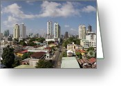 Gray Sky Greeting Cards - Panama Cityscape Greeting Card by Heiko Koehrer-Wagner