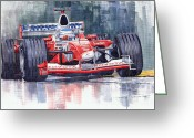 Sport Painting Greeting Cards - Panasonic Toyota TF102 F1 2002 Mika Salo Greeting Card by Yuriy  Shevchuk
