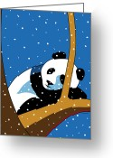 Bears Greeting Cards - Panda at Peace Greeting Card by Ron Magnes