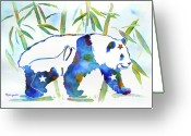 Panda Greeting Cards - Panda Bear with Stars in Blue Greeting Card by Jo Lynch