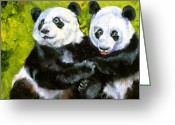 Bear Drawings Greeting Cards - Panda Date Greeting Card by Susan A Becker
