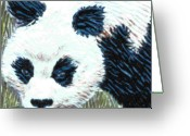 Wildlife Art Ceramics Greeting Cards - Panda Greeting Card by Dy Witt