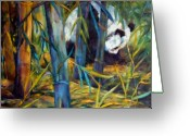 Panda Greeting Cards - Panda in Bamboo Greeting Card by Peggy Wilson