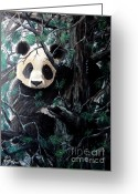 Panda Greeting Cards - Panda in tree Greeting Card by Nick Gustafson