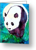Panda Greeting Cards - Panda Greeting Card by Jo Lynch