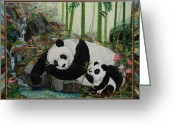 Life Tapestries - Textiles Greeting Cards - Panda Perfect Greeting Card by Kathy McNeil