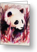Panda Greeting Cards - Panda Greeting Card by Rachel Christine Nowicki