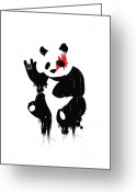 Black White Greeting Cards - Panda Rocks Greeting Card by Budi Satria Kwan