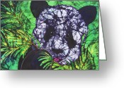 Black And White Tapestries - Textiles Greeting Cards - Panda Snack Greeting Card by Kay Shaffer