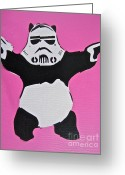 Tom Evans Greeting Cards - Panda Trooper Greeting Card by Tom Evans