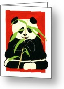 Bears Painting Greeting Cards - Panda with Bamboo Greeting Card by Terry Taylor