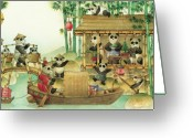 Panda Greeting Cards - Pandabears Christmas 03 Greeting Card by Kestutis Kasparavicius