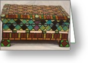 Mixed-media Glass Art Greeting Cards - Pandoras Jewel Chest Greeting Card by Robin Miklatek