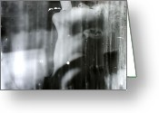 Black And White Glass Art Greeting Cards - Pandoras Soul Greeting Card by Adam Winnie