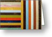 Strips Greeting Cards - Panel Abstract l Greeting Card by Michelle Calkins